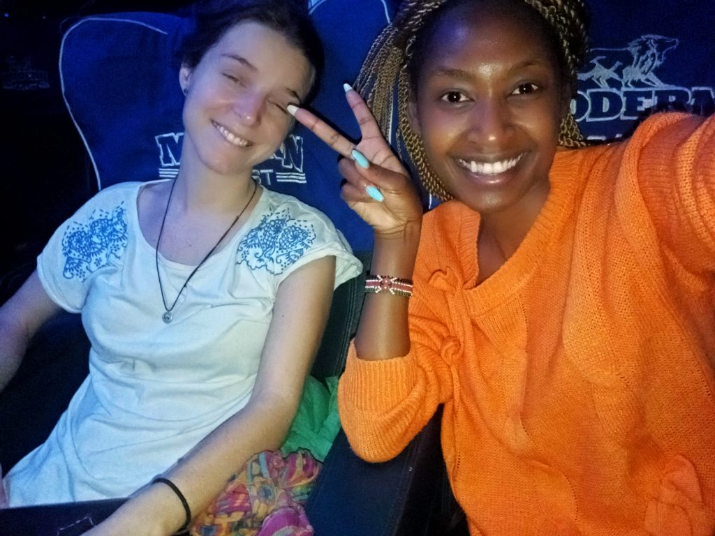 A photo of two women on a Modern coast Bus to Tanzania  by weonboard.com