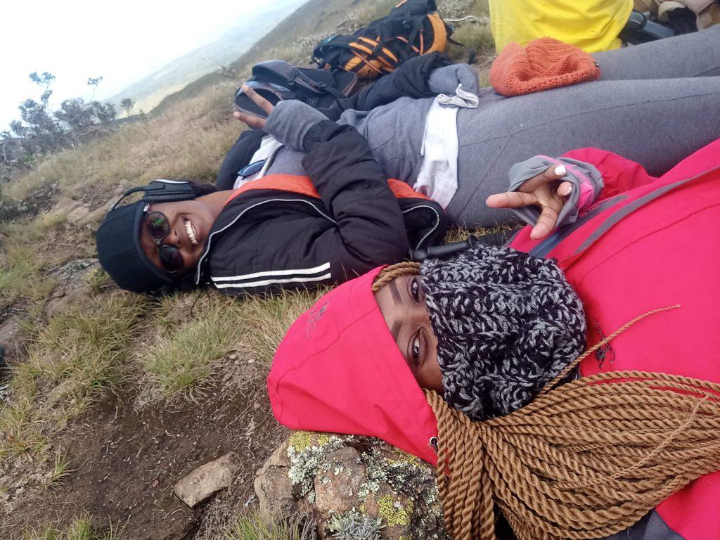 A photo of two women at Mt. Satima peak