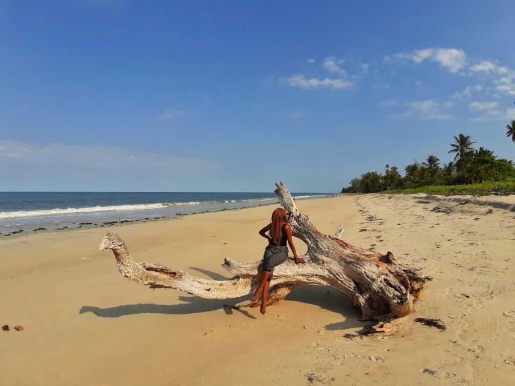 A photo of a woman at Ushongo beach by weonboard.com