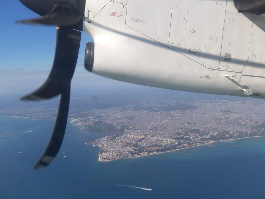 Aerial view of zanzibar island from airplane by weonboard.com